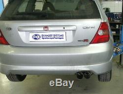 Honda Civic 7 Type-R 2.0l 147kW Échappement Sport Rond 2x90 MM En Inox De Fox