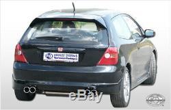 Honda Civic 7 Type R 2.0l 147kW le Sport Échappement Duplex 70mm Rond Je 2x80 MM