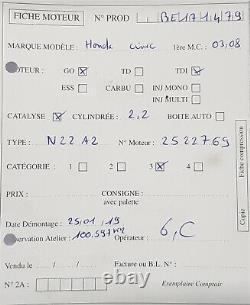Moteur Honda Civic CRV Accord 2.2Ctdi 140ch 2006 à 2012 type N22A2 100 597 km